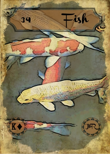 Vintage Lenormand, by RootweaverCard #34 - Fish