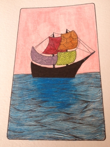 Card 3, Ship. Zingdoodle Lenormand by Rootweaver 2013
