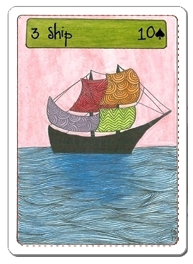 SHIP card. Deck: Zingdoodle Lenormand © Rootweaver 2013 Available on www.rootweaver.com